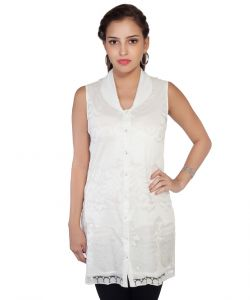 Soie Sleeveless Brasso Tunic, Shawl Collar & Front Placket(product Code)_5797off White_