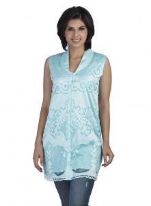 Soie Sleeveless Brasso Tunic, Shawl Collar & Front Placket(product Code)_5797sky Blue_