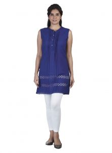 surat tex,soie,avsar Tops & Tunics - Soie Sleeveless  Tunic, Laser Cut Pattern At The Hem & Front Placket(Product Code)_5798Purple_