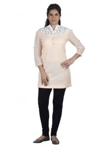 Soie Cotton Tunic, Roll-up Sleeves, Embroidered Yoke & Front Placket(product Code)_5802peach_