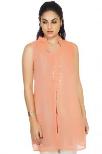Soie,Unimod,Oviya,Clovia,Avsar Women's Clothing - Soie Sleeveless  Tunic, Printed Inner Layer(Product Code)_5803Peach_