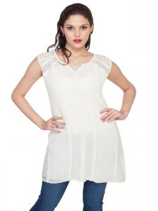 soie,unimod Tops & Tunics - Soie  Sleeveless Tunic, Mix Of Lace & Embroidered Panels(Product Code)_5806Off White_