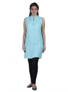Soie Sleeveless Tunic, Front Placket,embroider-ed Panels & St& Collar(product Code)_5811sky Blue_