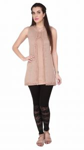 Soie Sleeveless Jersey Tunic, St& Collar & Emroidered Cover-up & Lace Detailing(product Code)_5812beige_