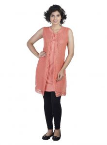 Soie Sleeveless Jersey Tunic, St& Collar & Emroidered Cover-up & Lace Detailing(product Code)_5812orange_