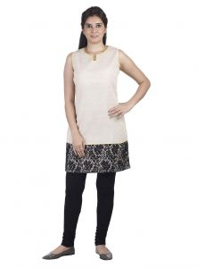 Soie Sleeveless Jute Tunic, Lace Panel & Bright Piping(product Code)_5815beige_