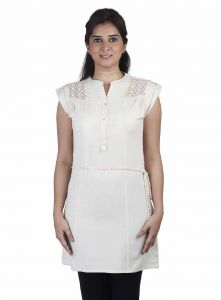 Soie Cap Sleeve Jute Tunic, Lace Detailing & Belt(product Code)_5816(b)ivory_