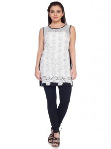 Soie Sleeveless Rayon Tunic, Machine Embroidered Panels(product Code)_5819black+o.white_