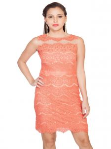 The Jewelbox,Jpearls,Platinum,Soie,Sukkhi,Surat Diamonds Women's Clothing - Soie Featuring A Lace Stretchable Fabric Straight Cut Dress, A Waist B&(Product Code)_5821Peach_