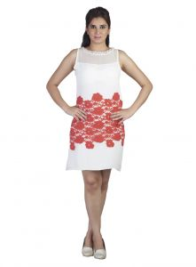 Shonaya,Soie,Kaamastra,Unimod Women's Clothing - Soie This Dress Has Contrast Lace Fabric Patched From Waist To Mid-Thigh On  Fabric & Neckline Is H& Embroidered(Product Code)_5823Off White_