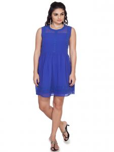Soie Waist Gathered Dress, Lace Attached On Neckline, Armhole & On Hem (product Code)_5824voilet_