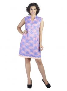 Soie Lace Fabric Dress, Side Pockets & Contrast Lining(product Code)_5829purple_