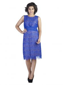 Soie,Valentine,Jagdamba Women's Clothing - Soie Wonderful Knee Length Lace Fabric Dress & Pleated Pattern At Underbust(Product Code)_5831Blue_