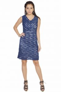 Kiara,La Intimo,Shonaya,Soie,Jagdamba Women's Clothing - Soie Sleeveless Shift Lace Dress Which Is Pleated Over All(Product Code)_5833N.Blue_