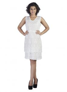 Surat Tex,Soie,Avsar Women's Clothing - Soie Sleeveless Embroidered Fabric Layered Dress(Product Code)_5836Off White_