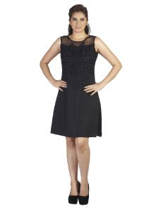Soie,Flora,Oviya,Asmi,Pick Pocket,Avsar Women's Clothing - Soie This Fabulous Suede Dress Had Embroidered Fabric Attached On The Neck Line, Dotted Net(Product Code)_5840Black_