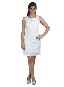 Soie Lace Fabric Short Dress, A Criss-cross Pattern In The Top Ans Satin Tape Attached(product Code)_5846off White_