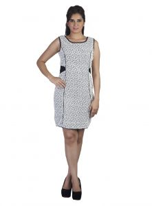 Soie,Unimod,Oviya,Hoop Women's Clothing - Soie Featuring Embroidered Fabric Princeses Cut Sleeveless Knee Length Dress (Product Code)_5853Off White_