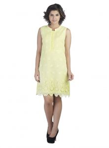Rcpc,Ivy,Soie,Surat Diamonds,Port,Fasense Women's Clothing - Soie Sleeveless Full Embroidered Knee Length Dress, Chinese Collor(Product Code)_5855L.Yellow_