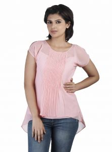 Soie,Valentine Women's Clothing - Soie Low-High Hem  Top, Pleating At The Front & Interesting Sleeve Detailing(Product Code)_5868(I)Pink_
