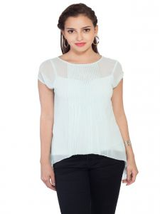 Soie,Valentine Women's Clothing - Soie Low-High Hem  Top, Pleating At The Front & Interesting Sleeve Detailing(Product Code)_5868(I)Sky Blue_