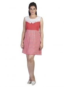 Soie,Flora,Oviya,Asmi,Estoss,Diya Women's Clothing - Soie Horizontal Stripe Bottom Short Knee Length Wonderfully Combined, Embroidered Fabric On The Front & Back Neckline (Product Code)_5870Pink_