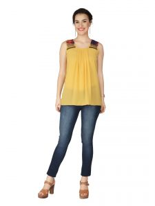 Soie Bright Gold Georgette Top For Women (code - 6129_i_bright_gold)