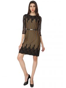 Rcpc,Ivy,Avsar,Soie,Bikaw,Lime Women's Clothing - Soie Striped Straight Regular Dress (Product Code - 6443_B)