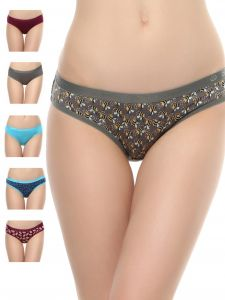 Vipul,Oviya,Soie,Surat Diamonds Lingerie - Soie Women's Hipster Multicolor Panty(Pack of 6) (Code - 6HR-2PACK 3)