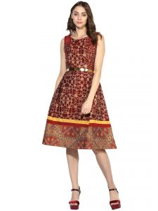 soie,flora,oviya,fasense,the jewelbox,asmi Western Dresses - Soie Women's Jacqard Party Dress  (Code - 7001_B_MAROON)