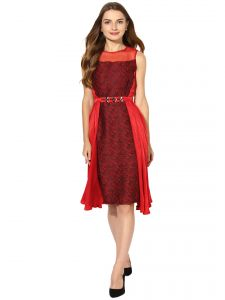 Vipul,Oviya,Soie,Kaamastra,Shonaya,Cloe Women's Clothing - Soie Women's Jacqard And Soild Party Dress With Golden Belt  (Code - 7003RED)