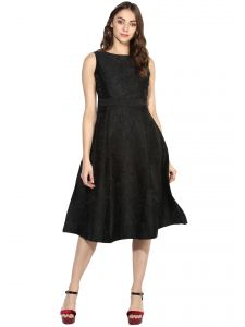 Soie,Flora,Oviya,Asmi,Mahi Women's Clothing - Soie Women's Elegant Jacqard Dress  (Code - 7004BLACK)