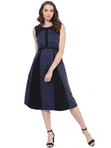 Soie,Unimod Women's Clothing - Soie Women's Contrast Pannel Dress (Code - 7007BLUE)