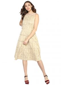 Hoop,Shonaya,Soie,Platinum,Arpera,Unimod,Sinina,Tng Women's Clothing - Soie Women's Elegant Fit And Flare Dress With Lace Detaling  (Code - 7008GOLD)