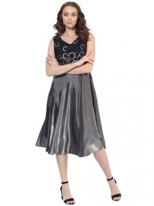 soie,unimod,vipul Western Dresses - Soie Women's Glittery Flare Dress  (Code - 7014BLACKGREY)