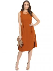 Hoop,Shonaya,Soie,Vipul,Cloe,Asmi,Parineeta Women's Clothing - Soie Women's Embroiderd Yoke Pleated Dress  (Code - 7019LT.RUST)