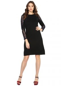 Lime,Surat Tex,Soie,Jagdamba,Mahi,Asmi Women's Clothing - Soie Women's Lacy Sleeve Dress (Code - 7024BLACK)