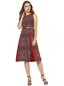 Soie,Flora,Oviya,Vipul Women's Clothing - Soie Women's Jacqard And Soild Pannel Dress  (Code - 7031_B_MAROON)