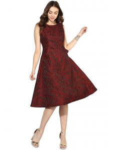 Western Dresses - Soie Women's Jacqard Dress With Pocket  (Code - 7032RED)