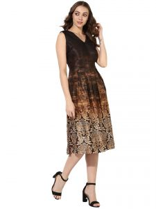 Vipul,Oviya,Soie,Kaamastra,Surat Tex,Bagforever,Cloe Women's Clothing - Soie Women's Printed V Neck Dress  (Code - 7041BROWN)
