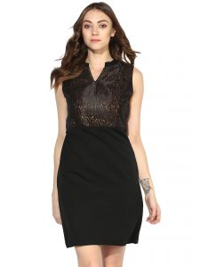 soie,unimod Western Dresses - Soie Women's Jacqard Body Dress  (Code - 7042BLACK)
