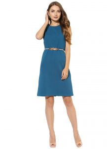 Rcpc,Ivy,Soie,Surat Diamonds,Gili Women's Clothing - Soie Women's Jacqard Dress With Lace Body  (Code - 7048BLUE)