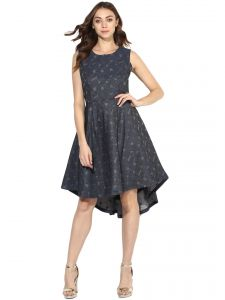 Soie,Flora,Oviya,Asmi Women's Clothing - Soie Women's Jacqard High Low Dress  (Code - 7050STEELBLUE)