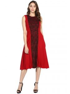 soie,unimod Western Dresses - Soie Women's Pleated Pannel Dress  (Code - 7061MAROON)