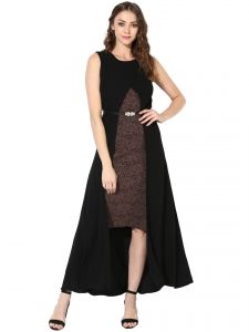 soie,unimod Western Dresses - Soie Women's High Low Dress  (Code - 7062_B_BROWN)