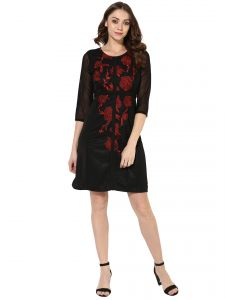 Surat Tex,Soie,Avsar,Fasense Women's Clothing - Soie Women's Contrast Embroidery Dress (Code - 7073BLACK)