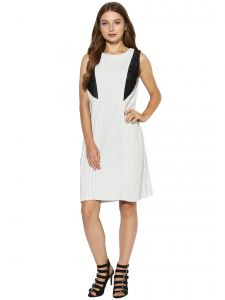 soie,unimod Western Dresses - Soie Women's Stripes Dress With Lace (Code - 7076OFFWHITE)