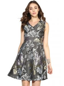 Soie,Unimod,Valentine,See More,Cloe,Jagdamba,Mahi,Diya Women's Clothing - Soie Women's Jacqard Short Dress With Pleats (Code - 7082GREY)