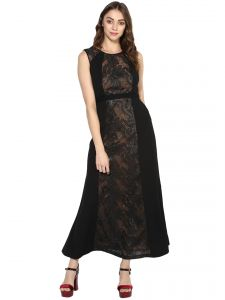 soie,flora Western Dresses - Soie Women's Embellished Long Dress (Code - 7084BLACK)
