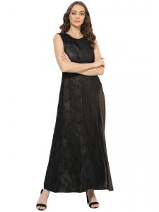 Kiara,Sukkhi,Jharjhar,Soie Women's Clothing - Soie Women's Shimmer Lace Long Dress (Code - 7088BLACK)
